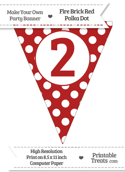 Fire Brick Red Polka Dot Pennant Flag Number 2 from PrintableTreats.com