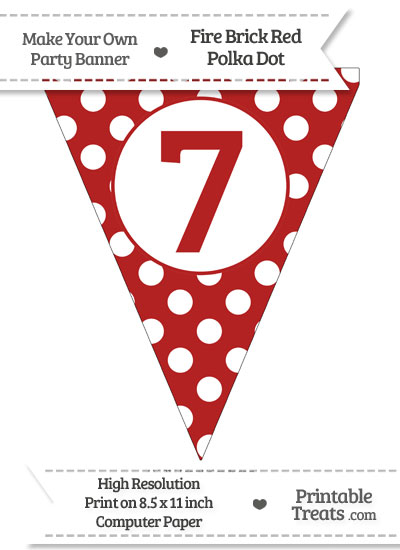 Fire Brick Red Polka Dot Pennant Flag Number 7 from PrintableTreats.com