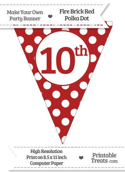 Fire Brick Red Polka Dot Pennant Flag Ordinal Number 10th from PrintableTreats.com