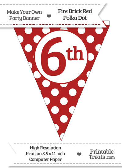 Fire Brick Red Polka Dot Pennant Flag Ordinal Number 6th from PrintableTreats.com