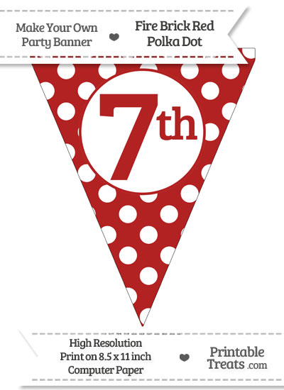 Fire Brick Red Polka Dot Pennant Flag Ordinal Number 7th from PrintableTreats.com
