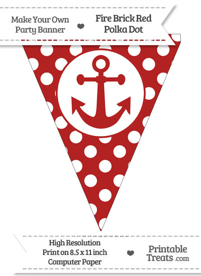 Fire Brick Red Polka Dot Pennant Flag with Anchor from PrintableTreats.com