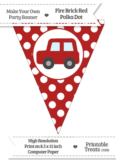 Fire Brick Red Polka Dot Pennant Flag with Car Facing Left from PrintableTreats.com