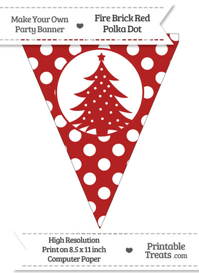 Fire Brick Red Polka Dot Pennant Flag with Christmas Tree from PrintableTreats.com