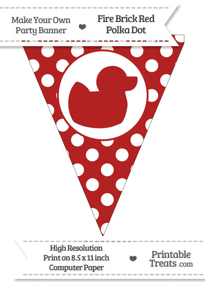 Fire Brick Red Polka Dot Pennant Flag with Duck Facing Right from PrintableTreats.com