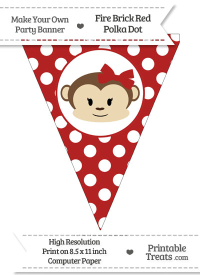 Fire Brick Red Polka Dot Pennant Flag with Girl Monkey from PrintableTreats.com