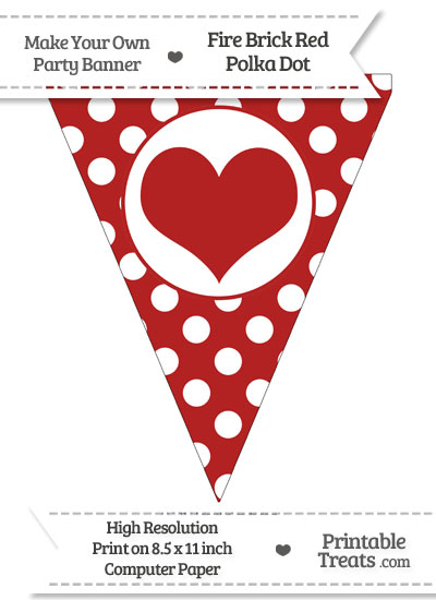 Fire Brick Red Polka Dot Pennant Flag with Heart from PrintableTreats.com