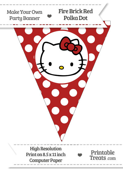Fire Brick Red Polka Dot Pennant Flag with Hello Kitty from PrintableTreats.com