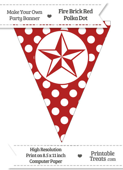 Fire Brick Red Polka Dot Pennant Flag with Nautical Star from PrintableTreats.com