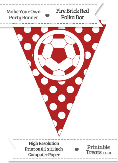 Fire Brick Red Polka Dot Pennant Flag with Soccer Ball from PrintableTreats.com