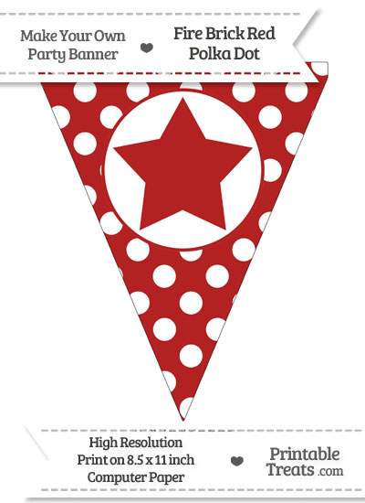 Fire Brick Red Polka Dot Pennant Flag with Star from PrintableTreats.com