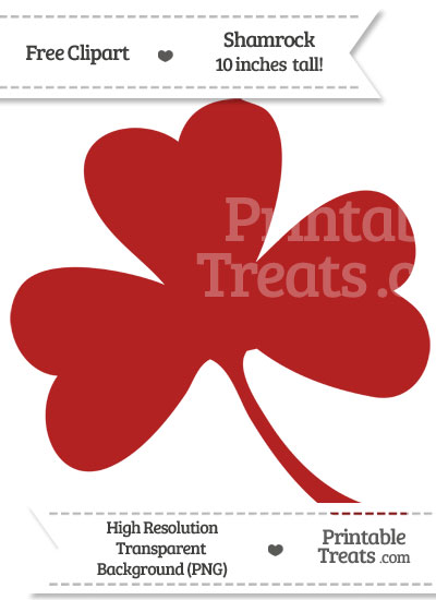 Fire Brick Red Shamrock Clipart from PrintableTreats.com