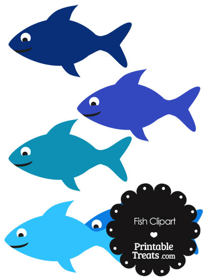 Fish Clipart in Shades of Blue from PrintableTreats.com