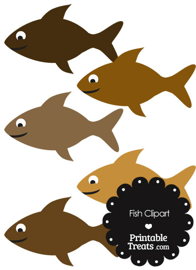 Fish Clipart in Shades of Brown from PrintableTreats.com
