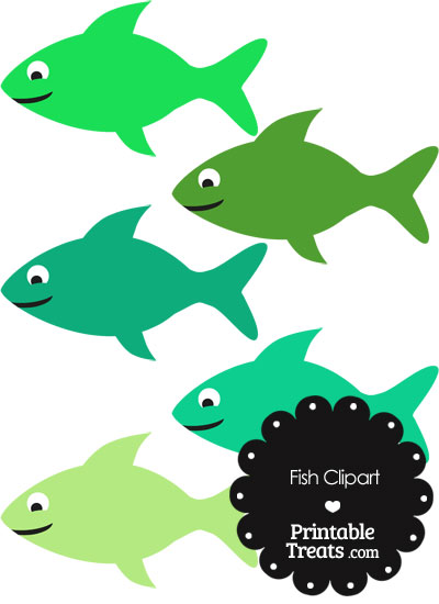 Fish Clipart in Shades of Green from PrintableTreats.com