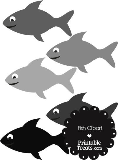 Fish Clipart in Shades of Grey from PrintableTreats.com