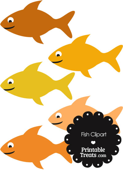 Fish Clipart in Shades of Orange from PrintableTreats.com
