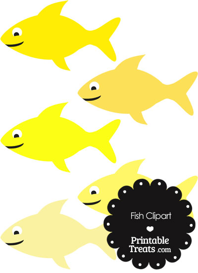 Fish Clipart in Shades of Yellow from PrintableTreats.com
