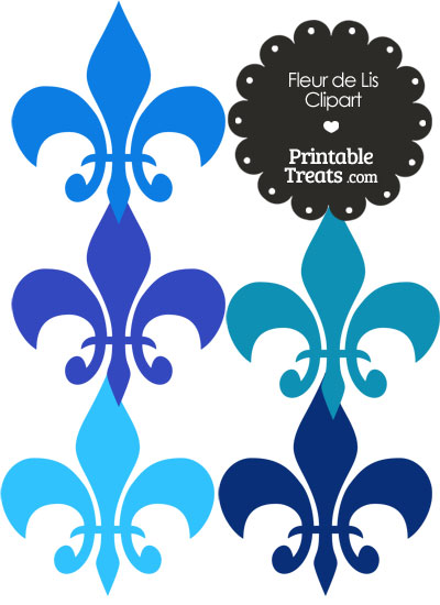 Fleur de Lis Clipart in Shades of Blue from PrintableTreats.com