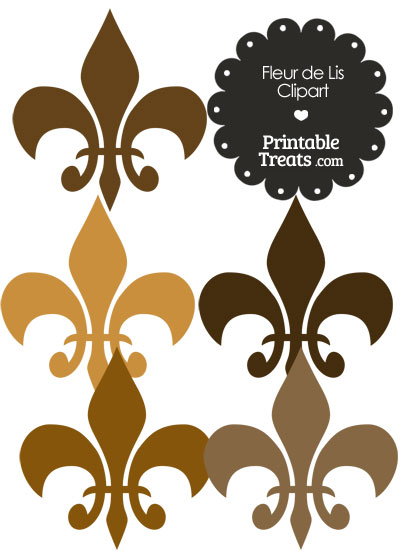 Fleur de Lis Clipart in Shades of Brown from PrintableTreats.com