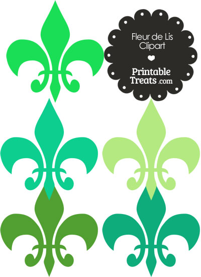 Fleur de Lis Clipart in Shades of Green from PrintableTreats.com