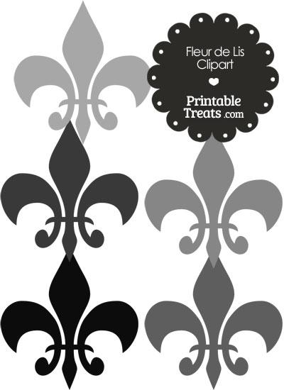 Fleur de Lis Clipart in Shades of Grey from PrintableTreats.com