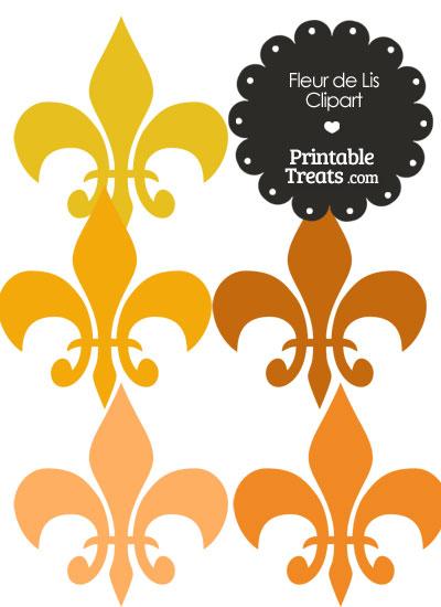 Fleur de Lis Clipart in Shades of Orange from PrintableTreats.com