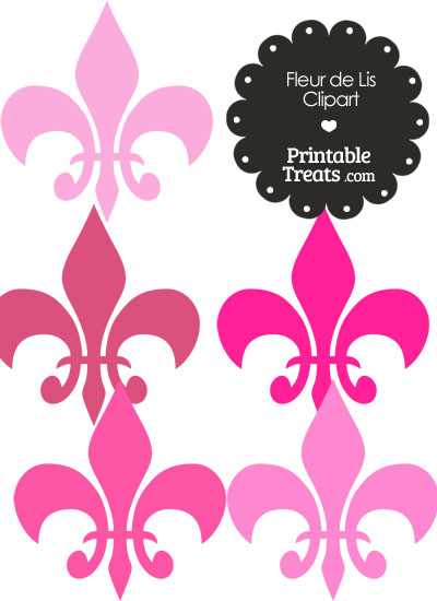 Fleur de Lis Clipart in Shades of Pink from PrintableTreats.com