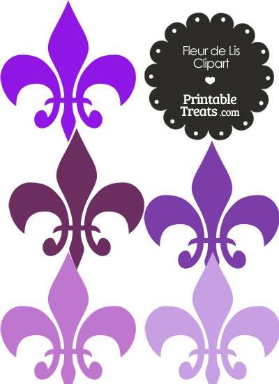 Fleur de Lis Clipart in Shades of Purple from PrintableTreats.com