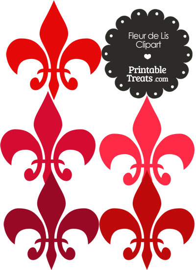 Fleur de Lis Clipart in Shades of Red from PrintableTreats.com