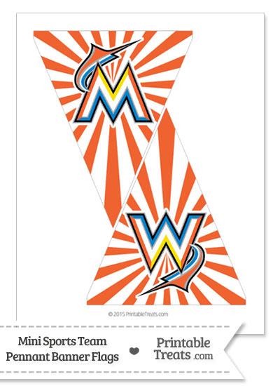 Florida Marlins Mini Pennant Banner Flags from PrintableTreats.com
