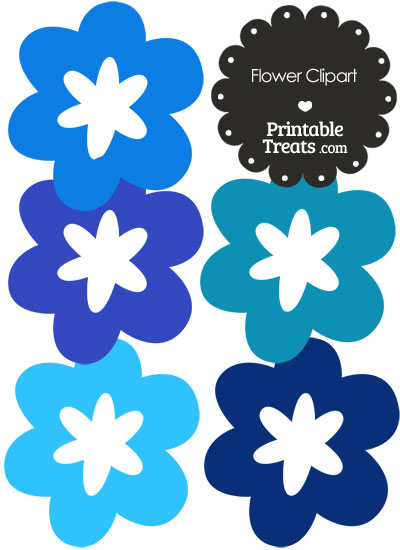 Flower Clipart in Shades of Blue from PrintableTreats.com