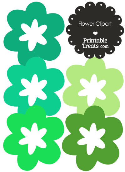 Flower Clipart in Shades of Green from PrintableTreats.com