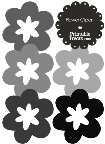 Flower Clipart in Shades of Grey from PrintableTreats.com