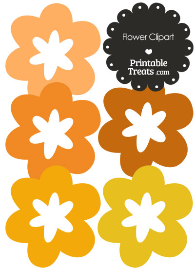 Flower Clipart in Shades of Orange from PrintableTreats.com