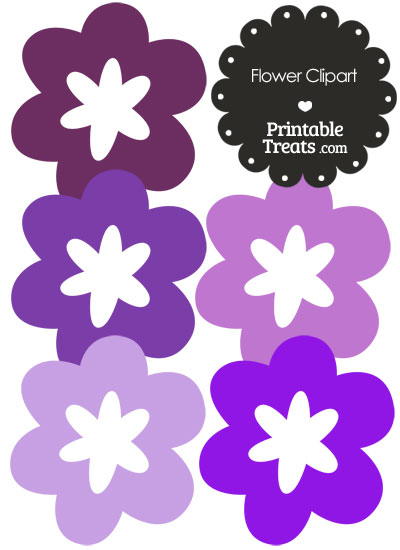 Flower Clipart in Shades of Purple from PrintableTreats.com