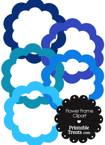 Flower Frame Clipart in Shades of Blue from PrintableTreats.com