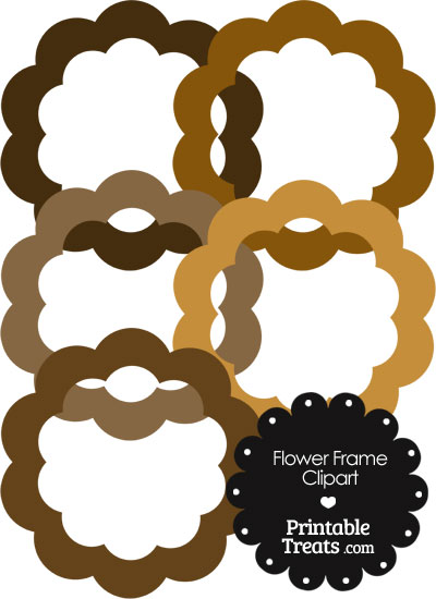 Flower Frame Clipart in Shades of Brown from PrintableTreats.com