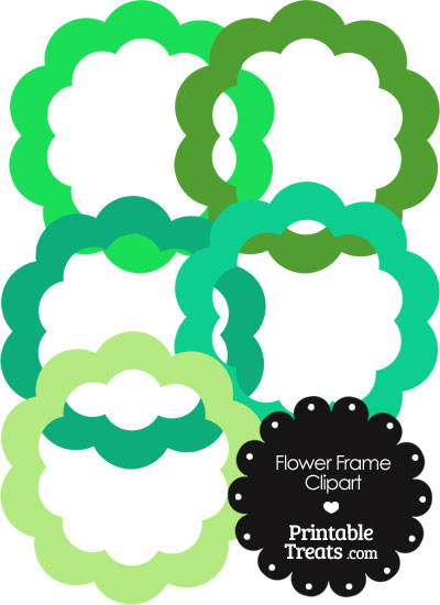 Flower Frame Clipart in Shades of Green from PrintableTreats.com