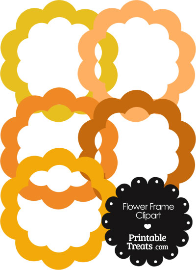Flower Frame Clipart in Shades of Orange from PrintableTreats.com