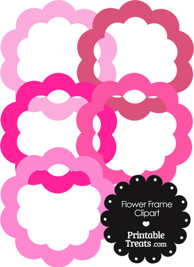 Flower Frame Clipart in Shades of Pink from PrintableTreats.com