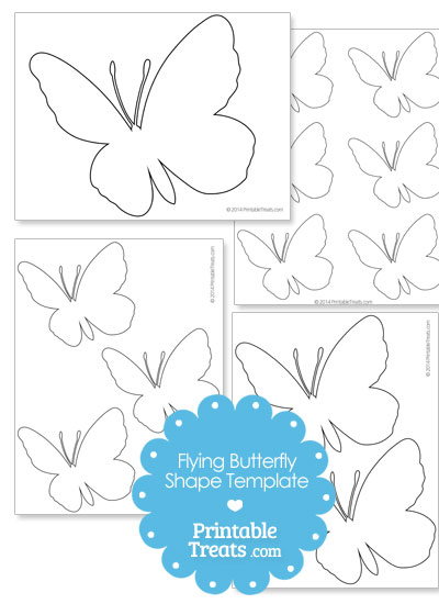 Flying Butterfly Shape Template from PrintableTreats.com