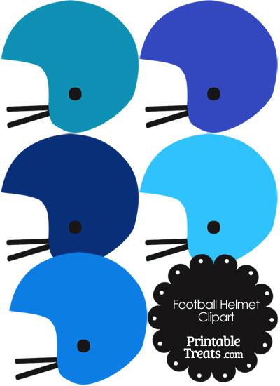 Football Helmet Clipart in Shades of Blue from PrintableTreats.com