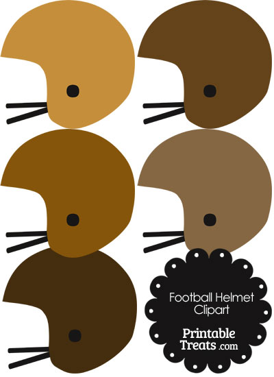 Football Helmet Clipart in Shades of Brown from PrintableTreats.com