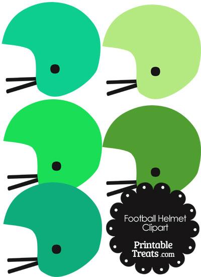 Football Helmet Clipart in Shades of Green from PrintableTreats.com