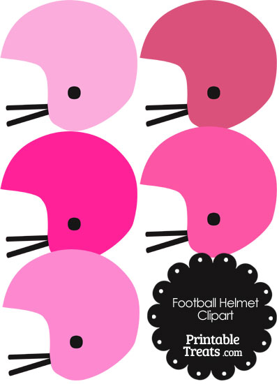 Football Helmet Clipart in Shades of Pink from PrintableTreats.com