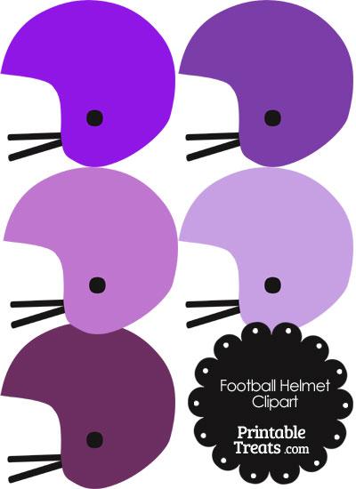 Football Helmet Clipart in Shades of Purple from PrintableTreats.com