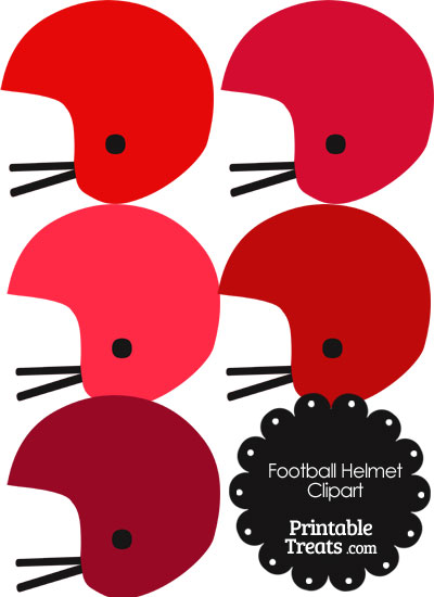 Football Helmet Clipart in Shades of Red from PrintableTreats.com