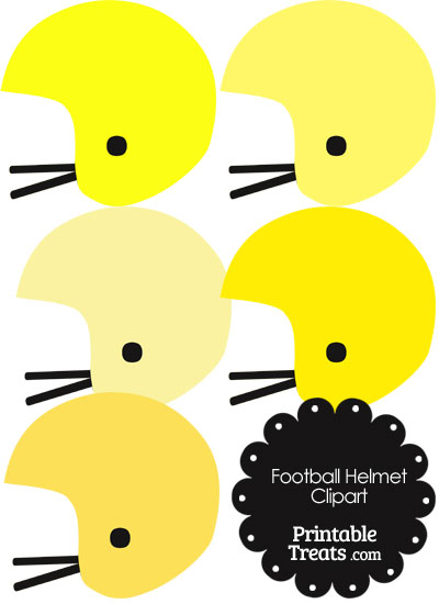 Football Helmet Clipart in Shades of Yellow from PrintableTreats.com