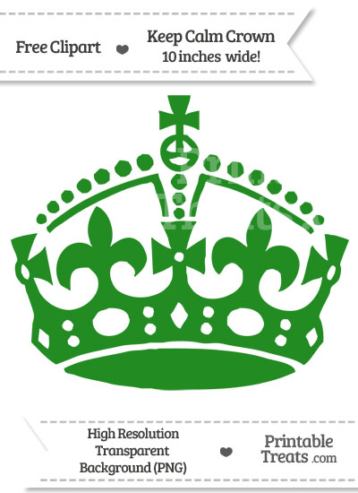 Forest Green Keep Calm Crown Clipart from PrintableTreats.com